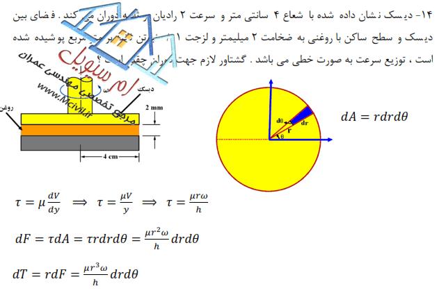حل مسائل مهم مکانیک سیالات فصل اول