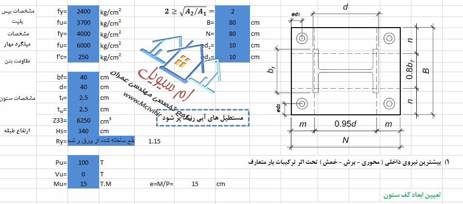 برنامه اکسل طراحی کامل BasePlate به روشLRFD